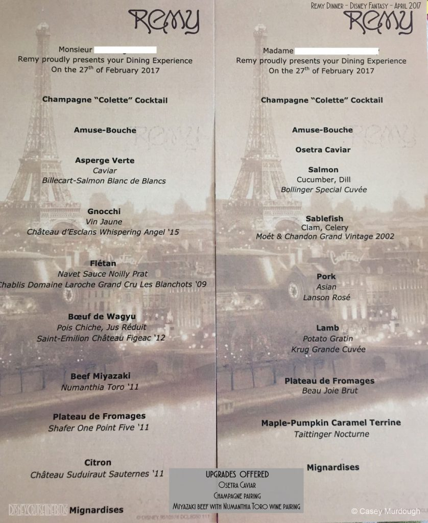 Remy Personal Dinner Menu Fantasy April 2017