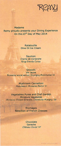 Remy Vegetarian Menu Dream May 2014