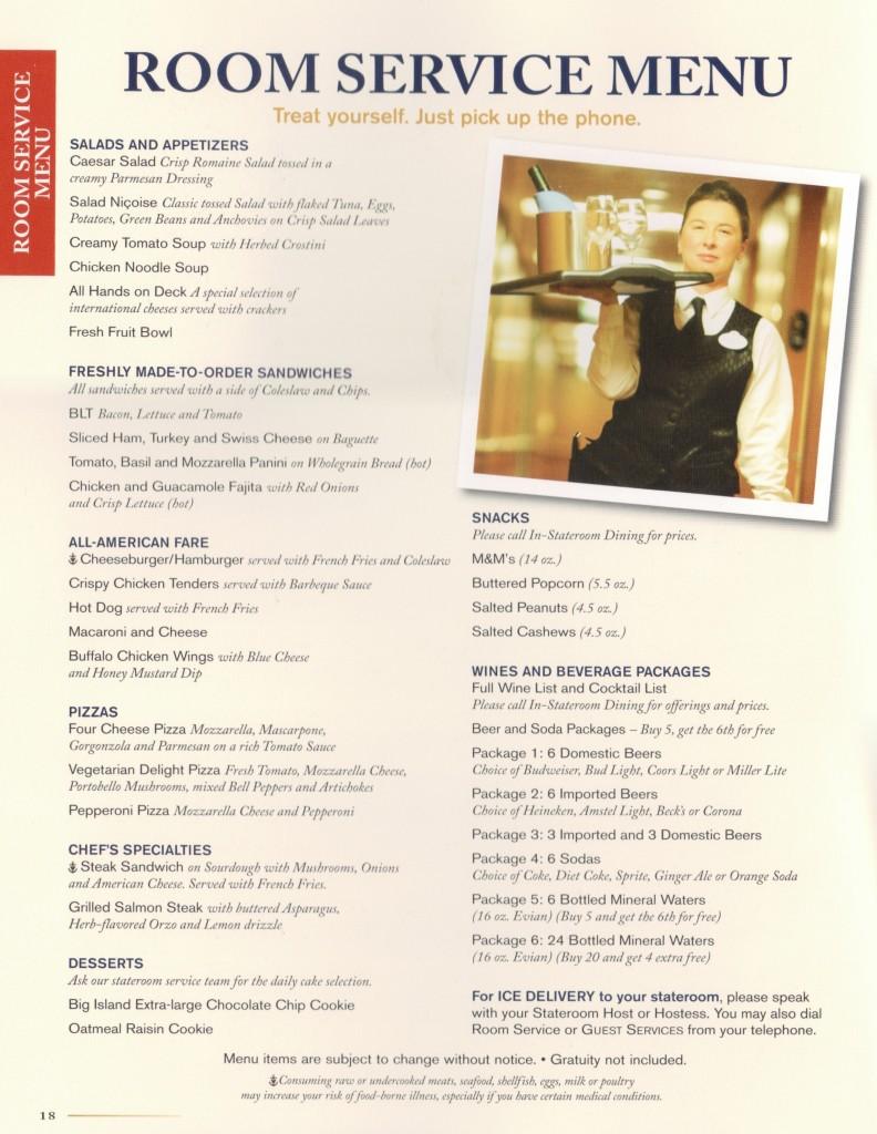 Room Service Menu - Disney Wonder 2013