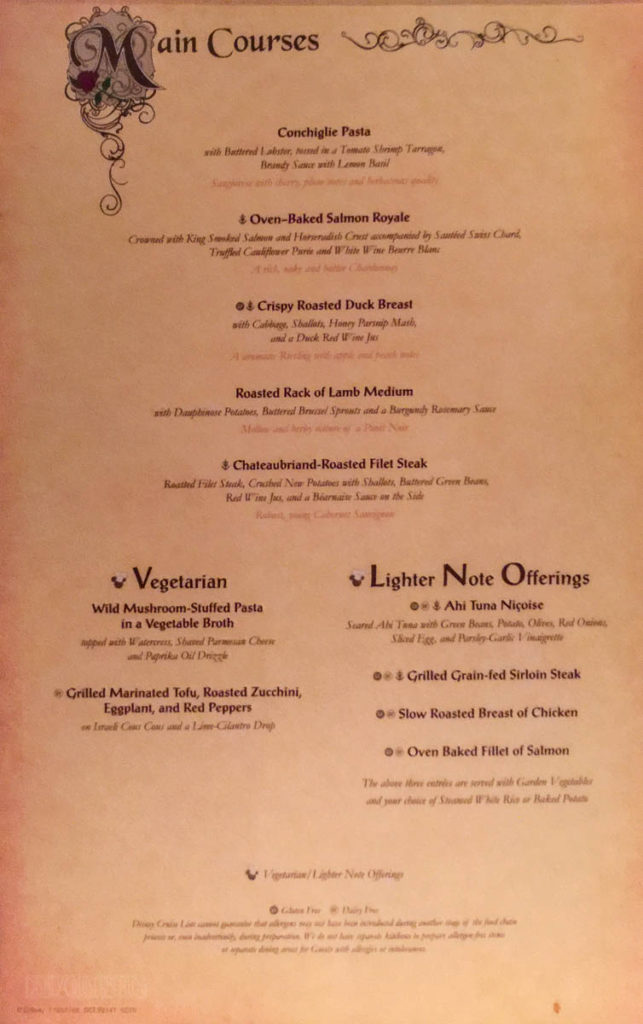 Royal Court Dinner Menu B Fantasy June 2016
