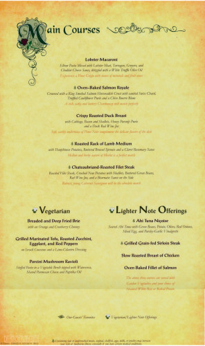 Royal Palace Dinner Menu Right Dream August 2013