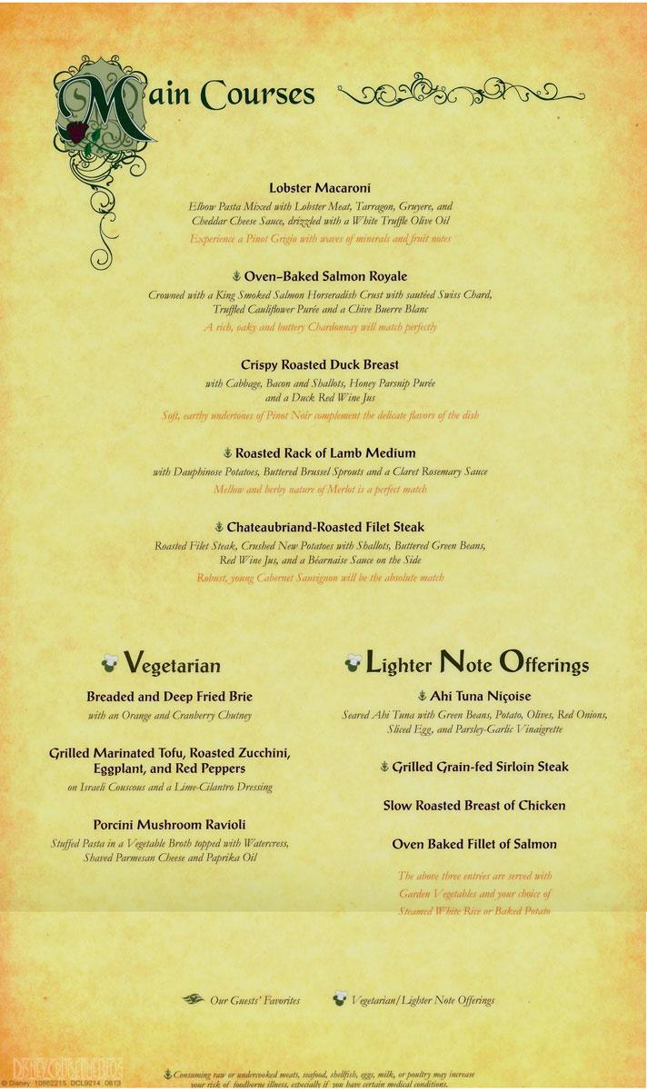 Disney Cruise Line Food Menu