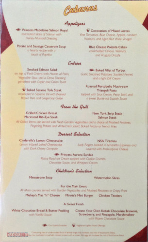Cabanas Dinner Menu December 2012 - Disney Fantasy
