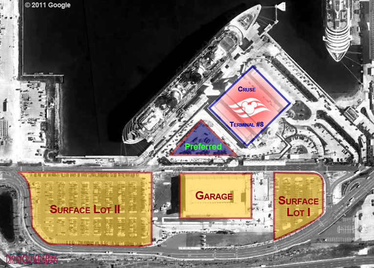 Port Canaveral Parking Map   Cruise Terminal 8   Disney