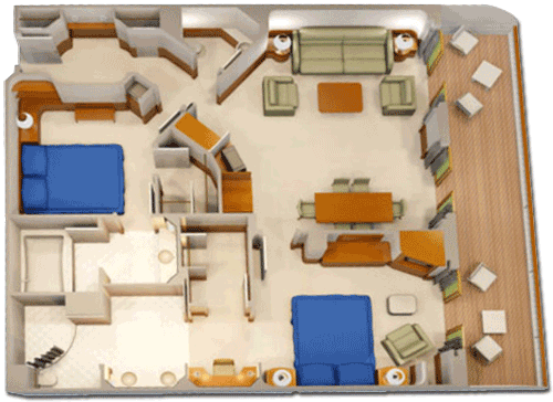 Concierge 2-Bedroom Suite with Verandah Diagram