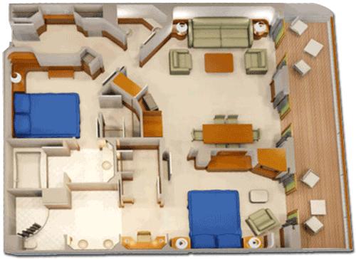Concierge 2-Bedroom Suite with Verandah Diagram