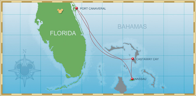 Itinerary Map 3-Night Bahamian Cruise