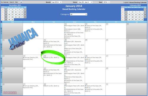 Jamaica - Port Authority Ship Calendar - January 2014