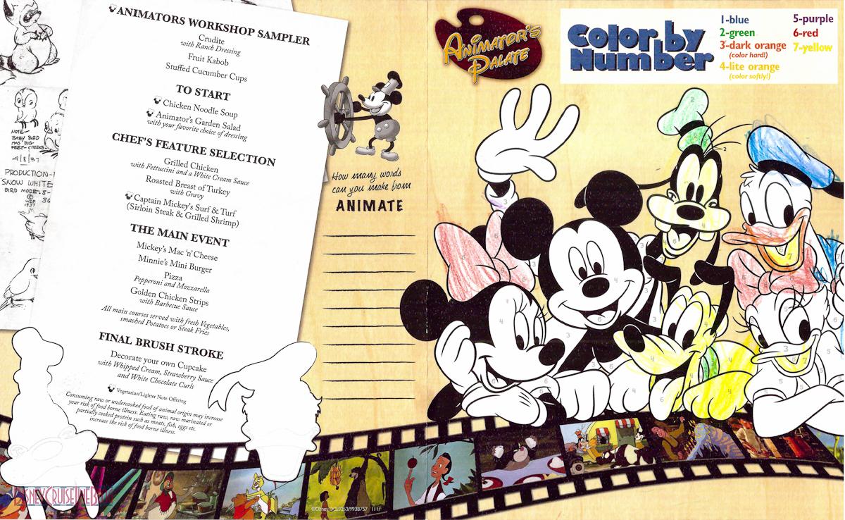 Rotational Dining Children's Menus • The Disney Cruise ...