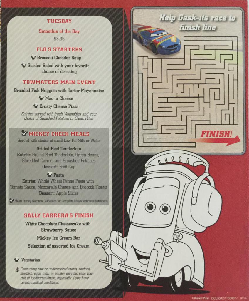 Kids Menu Tuesday Cars January 2014 Magic