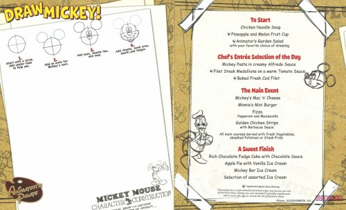 Dream Animators Palate Children's Kid's Menu
