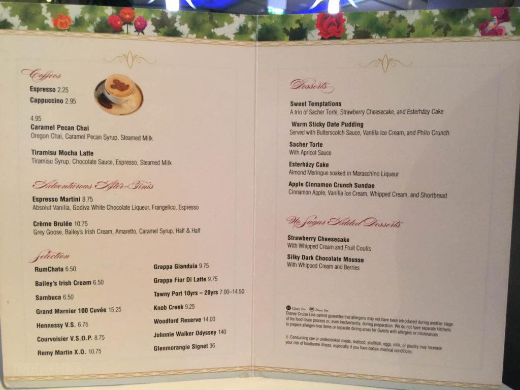 Enchanted Garden Dessert Menu Fantasy June 2016
