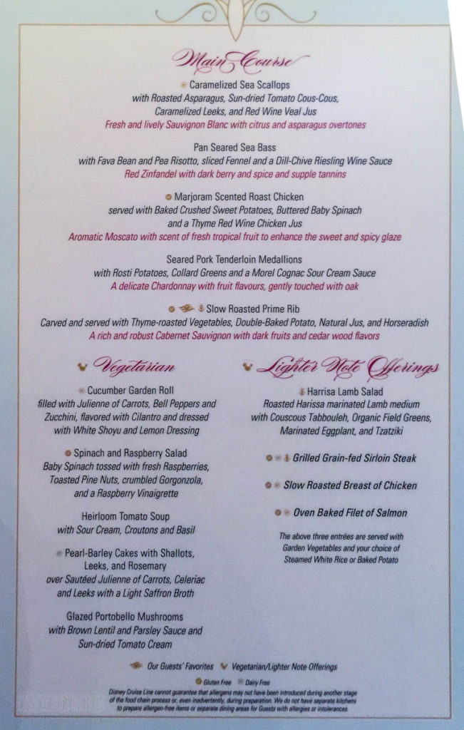 Enchanted Garden Dinner Menu B Fantasy June 2016