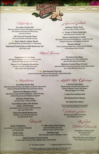 Enchanted Garden Dinner Menu Fantasy October 2015