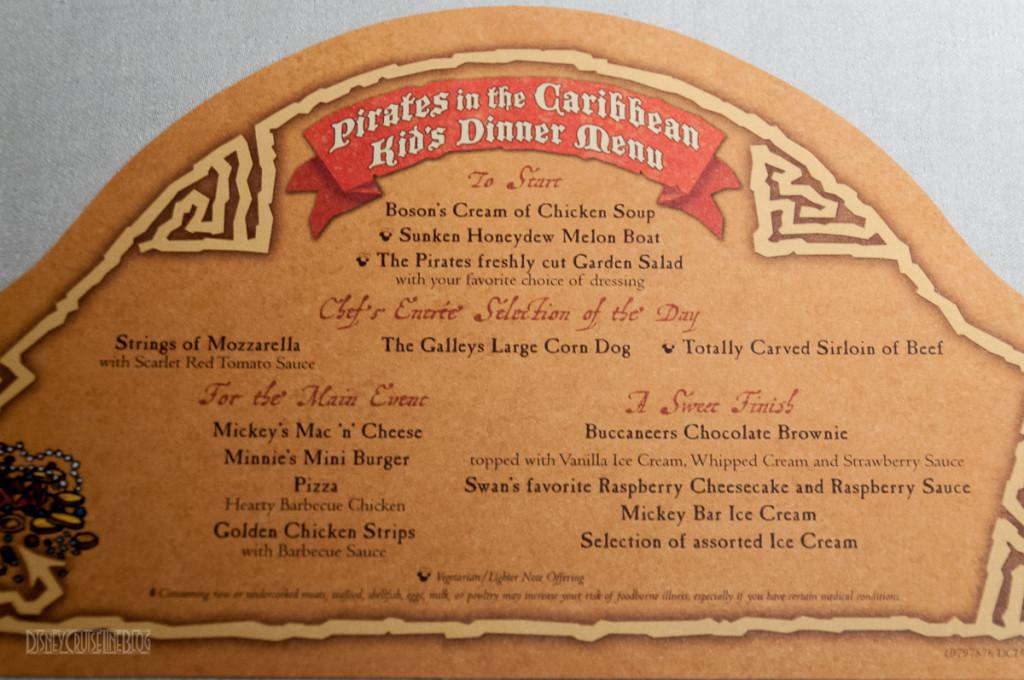 Pirates In The Caribbean Kid's Dinner Menu