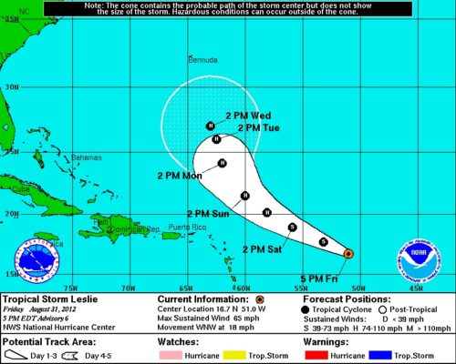 NHC Tropical Storm Leslie 5-Day 8-31-2012 8pm