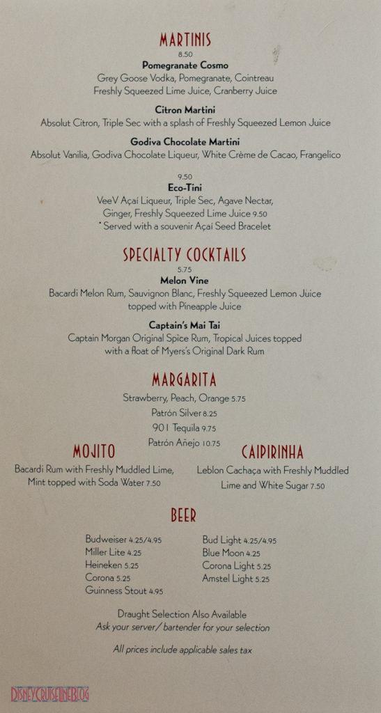 Disney Cruise Line - Drink Bar Menu I