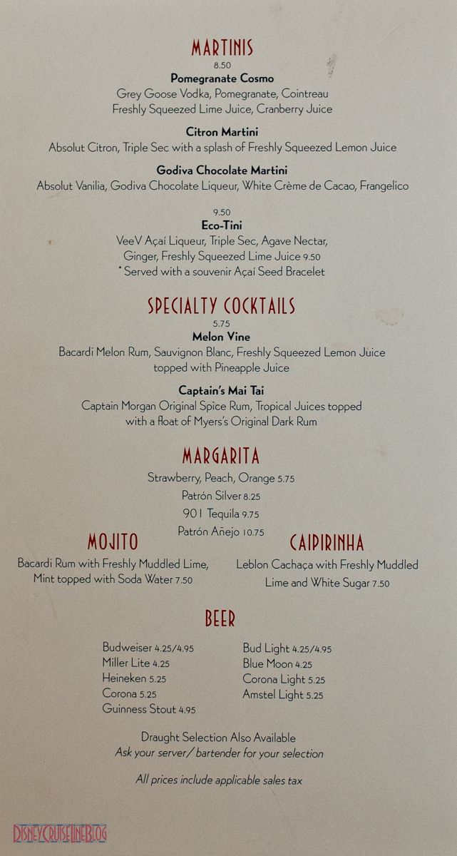 Drink Menus The Disney Cruise Line Blog