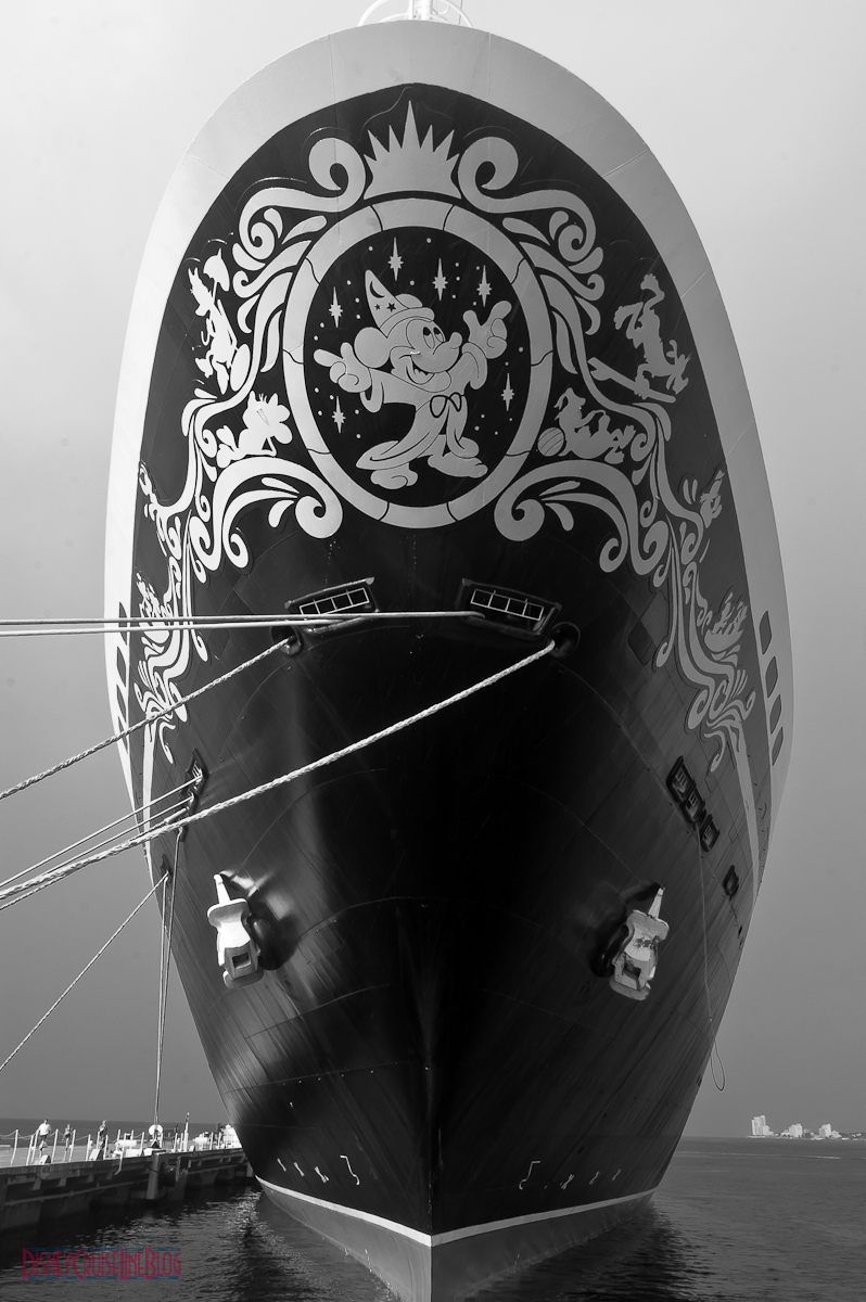 Disney Magic's Bow in Cozumel B&W