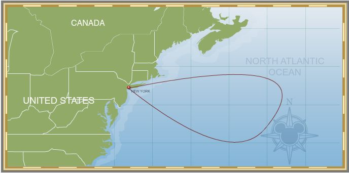 Itinerary Map 2-Night New York Weekend Getaway Cruise