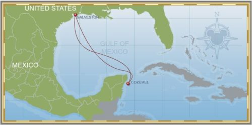 4-Night Western Caribbean Galveston Itinerary Map