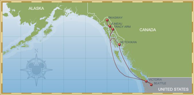 Itinerary Map 7-Night Alaskan Cruise