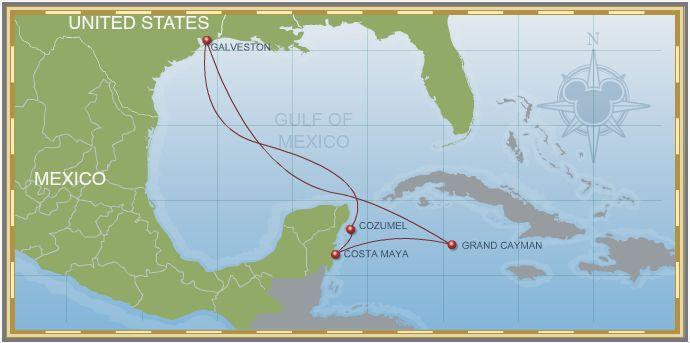 7-Night Western Caribbean Cruise Galveston Itinerary Map
