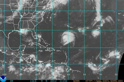 GOES Atlantic Sector IR Image 9/5/12 8AM Tropical Storm Leslie