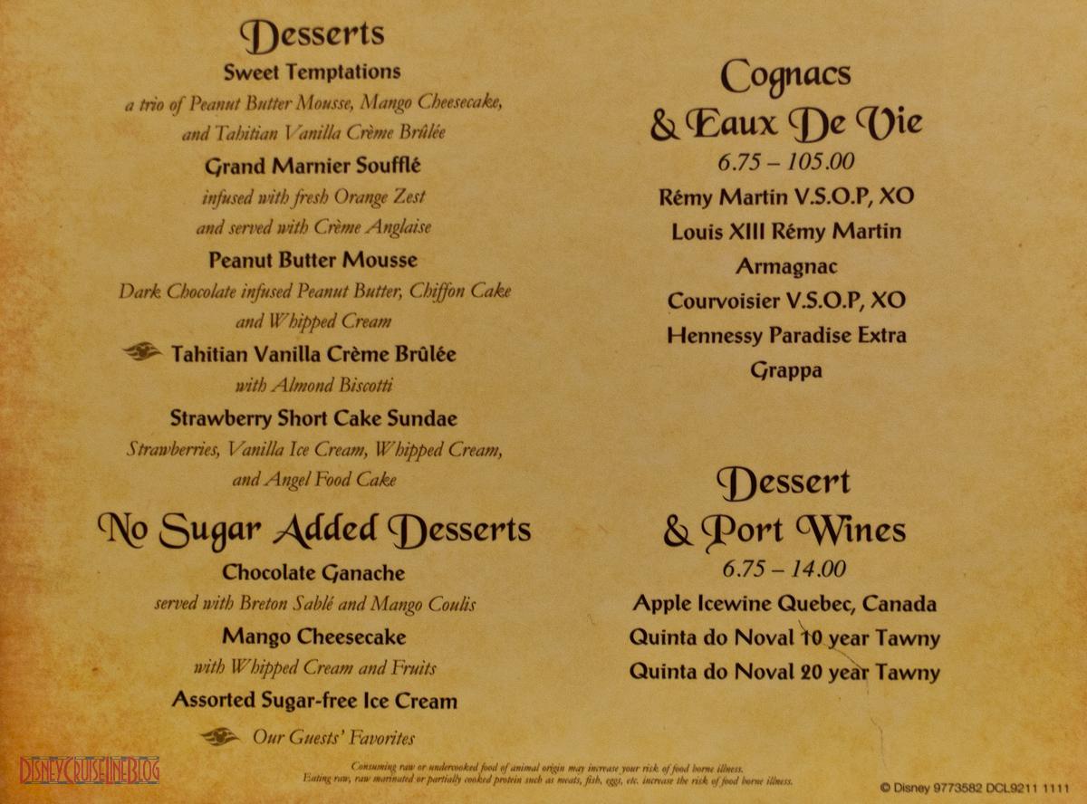 Royal Court Menu The Disney Cruise Line Blog