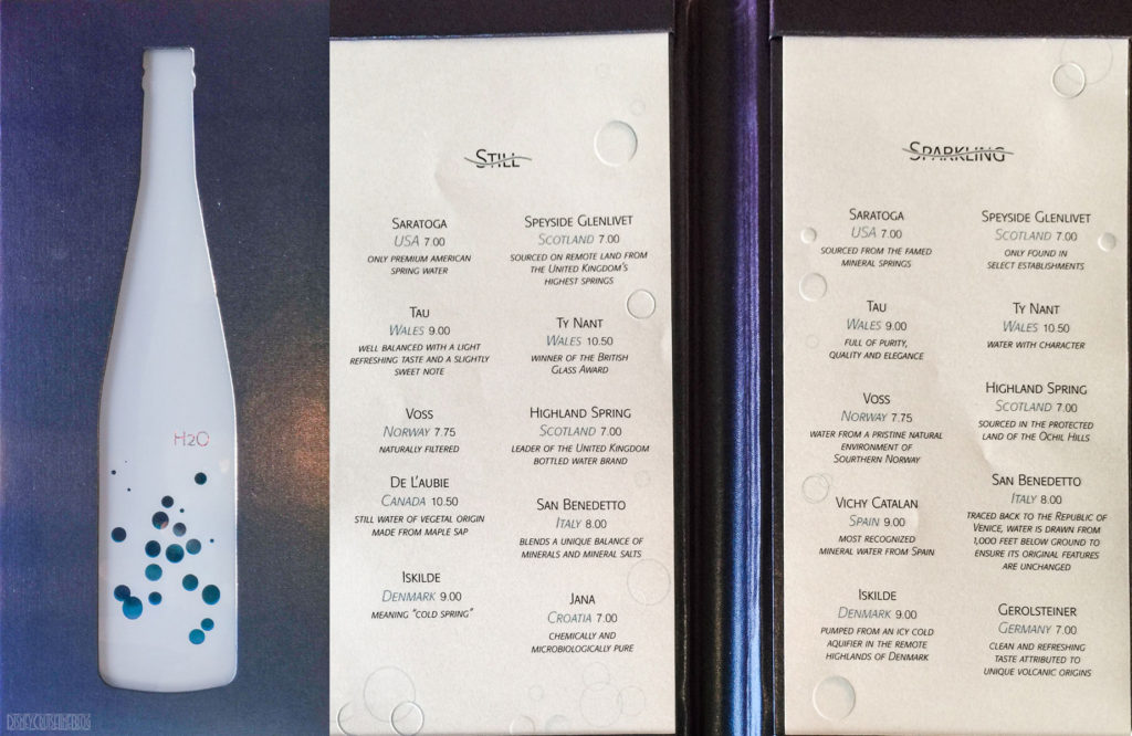 Remy Still Sparkling H20 Water Menu
