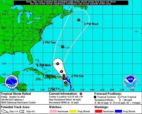 NHC 5-Day Tropical Storm Rafael 10/12/12 730PM