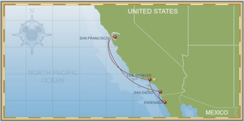 7-Night Pacific California Coast Pixar Cruise Itinerary Map