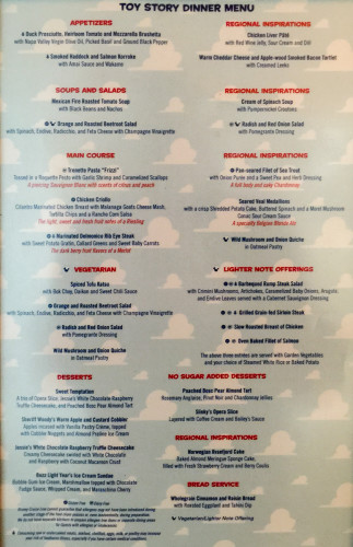 Toy Story Dinner Menu Magic July 2015