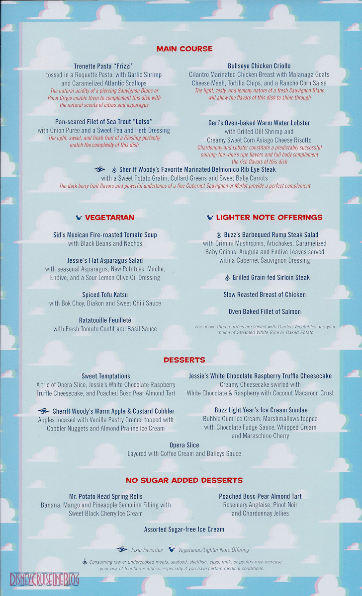 Pixar Dinner Menu Formerly Toy Story In 3d The Disney Cruise Line Blog