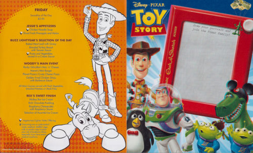 Toy Story Dinner (3D) Children's Menu - Front (Wonder)
