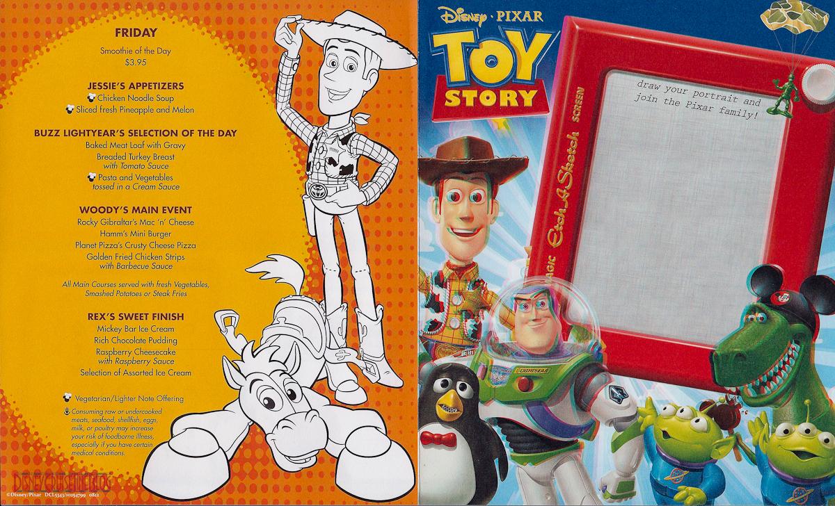 Pixar Dinner Menu Formerly Toy Story In 3d The Disney