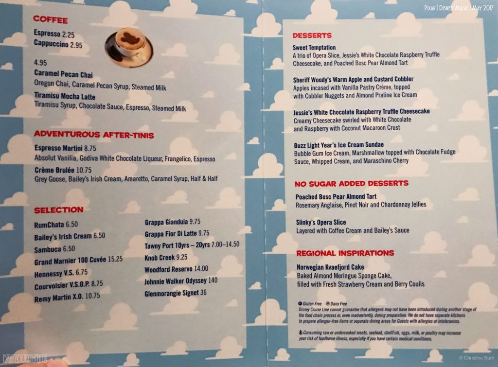 Pixar Dinner Menu Desssert Magic May 2017