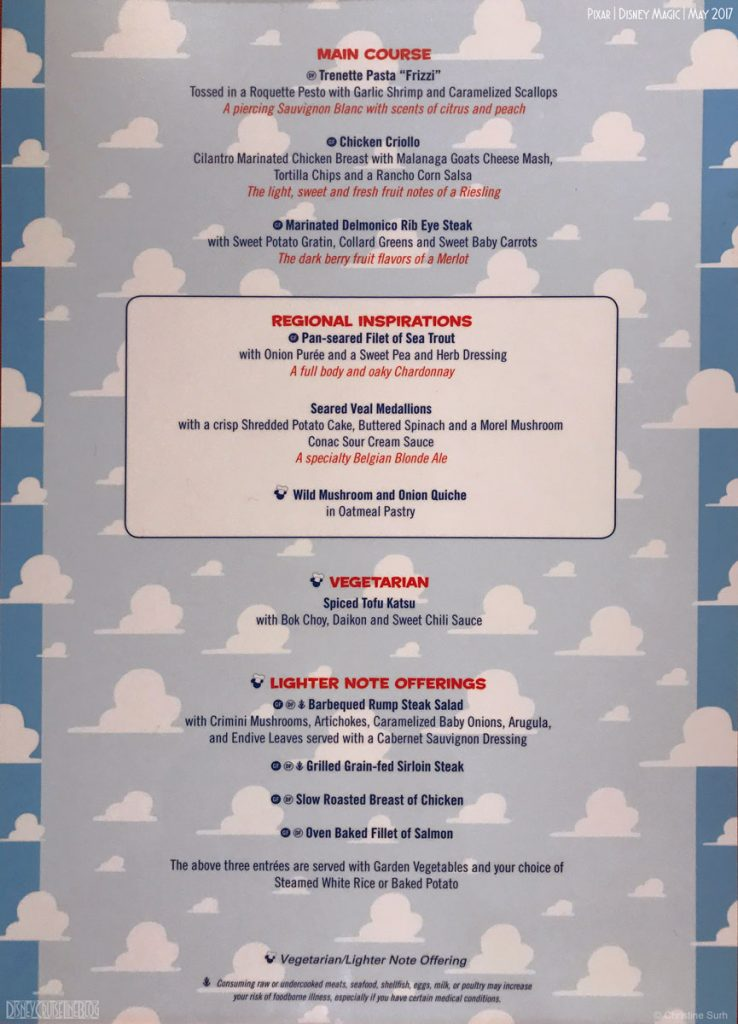 Pixar Dinner Menu Regional B Magic May 2017