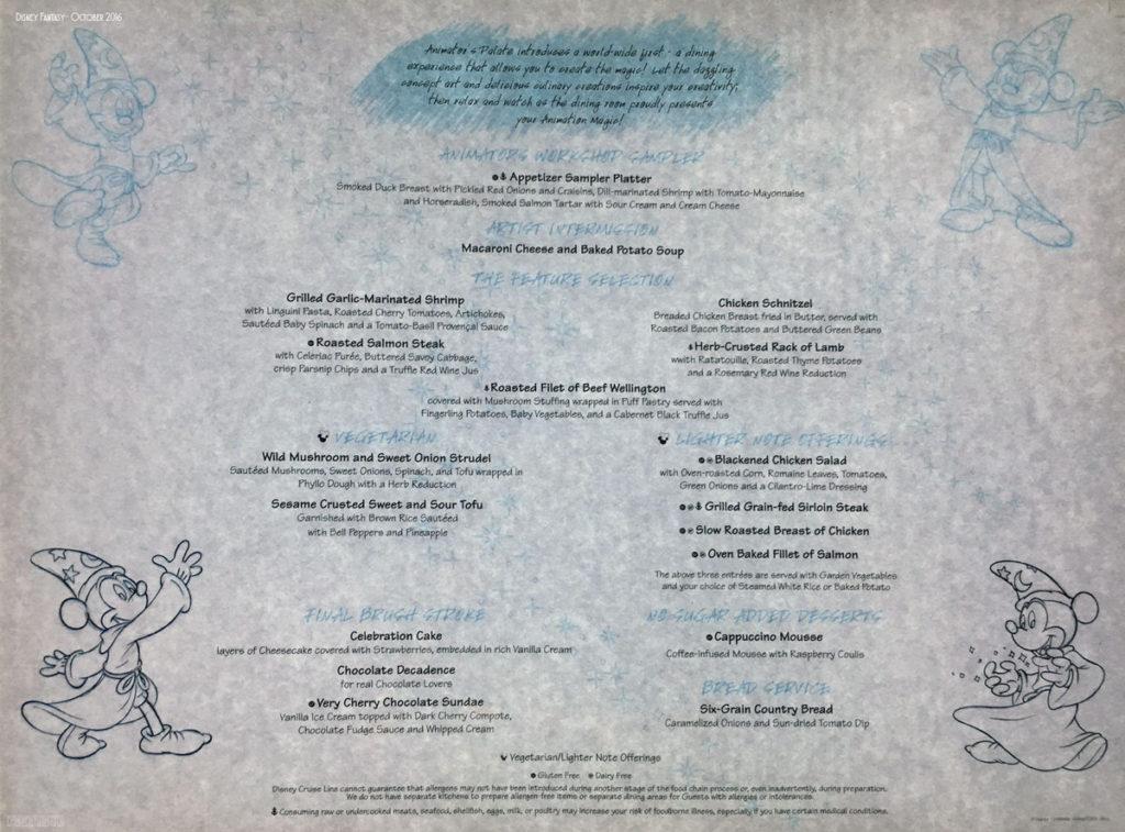 Sea Ya Real Soon Dinner Menu Animators Animation Magic Fantasy October 2016