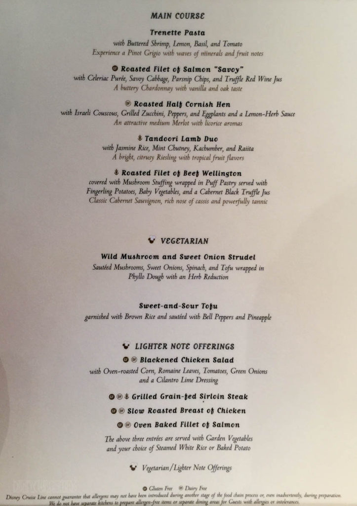 Sea Ya Real Soon Dinner Menu The Disney Cruise Line Blog