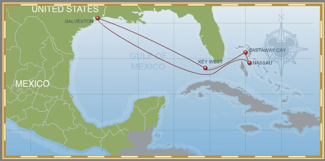 7-Night Bahamian Cruise on Disney Wonder - Itinerary A Map