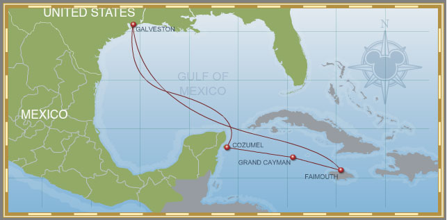 7-Night Western Caribbean Cruise Galveston Jamaica Itinerary Map