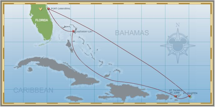 7-Night Eastern Caribbean Cruise on Disney Fantasy - Itinerary A Map