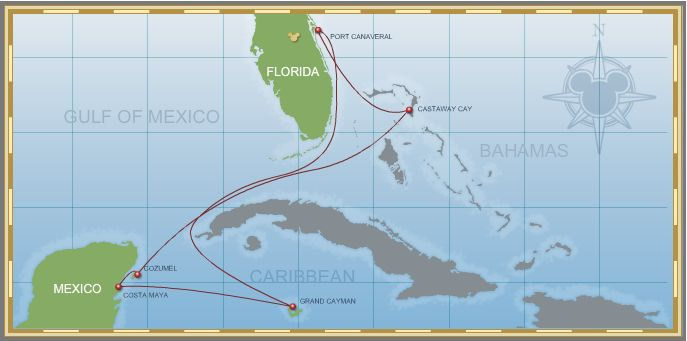 7-Night Western Caribbean Cruise on Disney Fantasy - Itinerary A Map
