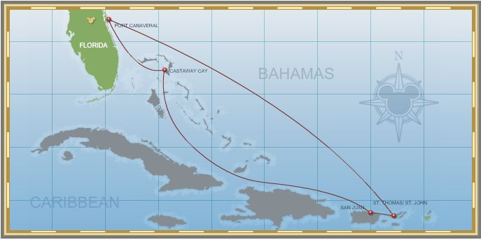 7-Night Eastern Caribbean San Juan Itinerary Map