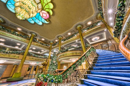 Disney Fantasy Atrium Lobby Christmas Decorations Grand Staircas
