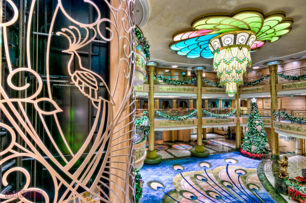 Disney Fantasy Atrium Lobby Christmas Decorations Peacock