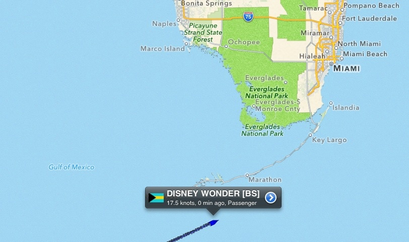 Disney Wonder - Current Location Saturday December 22, 2012 8:00 PM