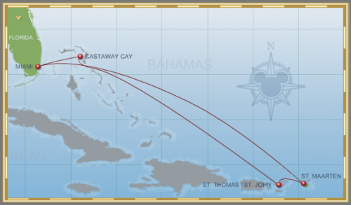 7-Night Eastern Caribbean Holiday Cruise on Disney Wonder Itinerary Map