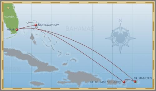 7-Night Eastern Caribbean Holiday Cruise on Disney Wonder Itinerary Map